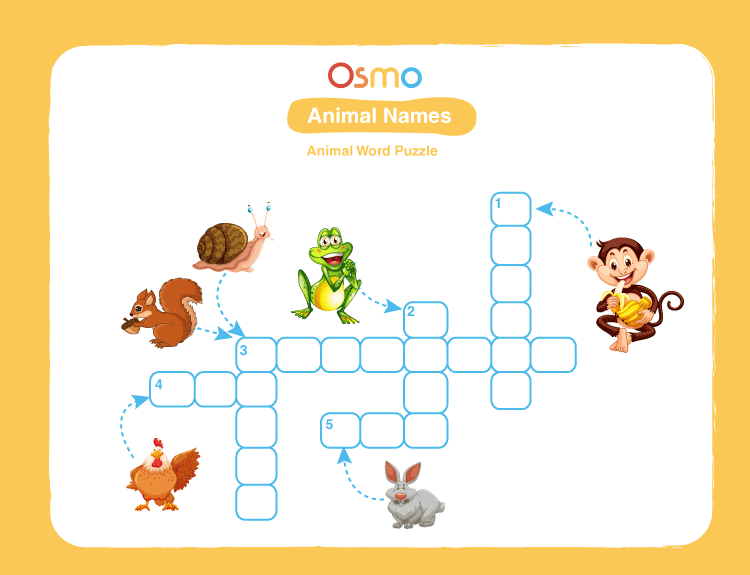 Animal Names Crossword Puzzles for Kids