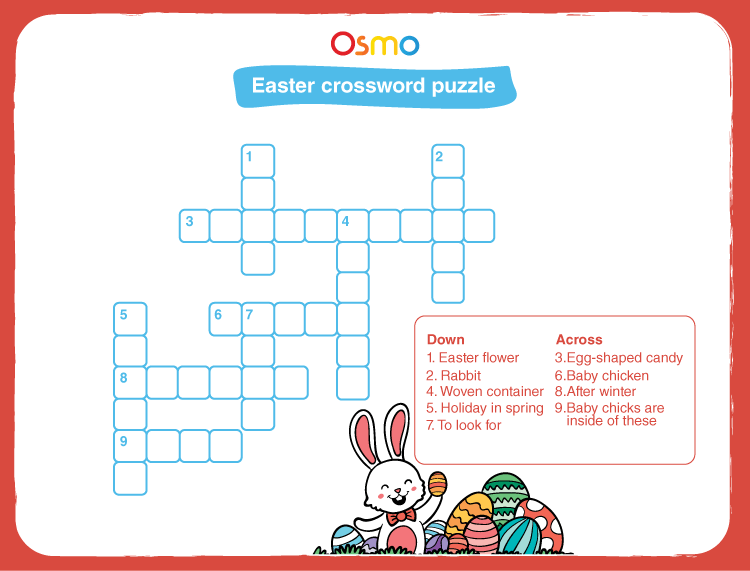 Solve Easter crossword puzzles:  Easter puzzles for kids