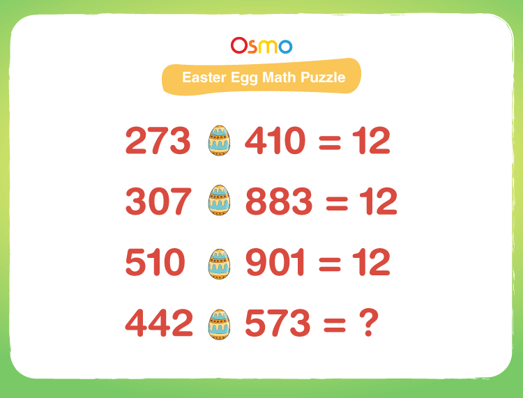 Solve Easter egg math puzzle: Printable Easter puzzles for kids