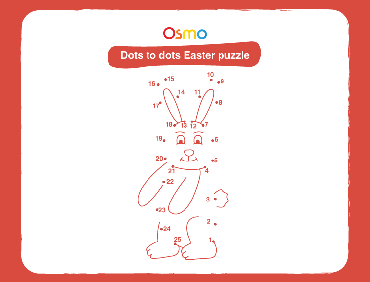 Connect dot to dot Easter puzzle: Free printable Easter puzzles for kids