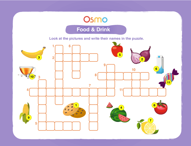 Food & Drink Crossword Puzzles for Kids