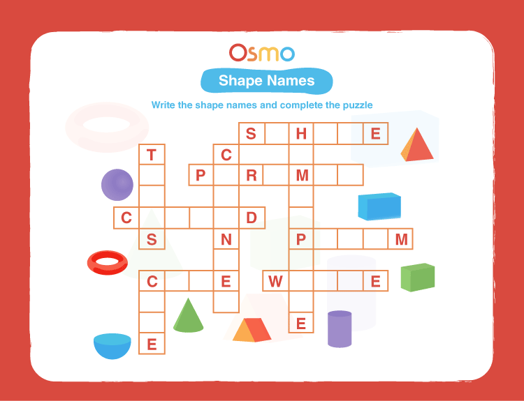 Shape Names Crossword Puzzles for Kids