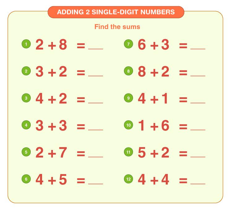 Addition Worksheets for Grade 1 4