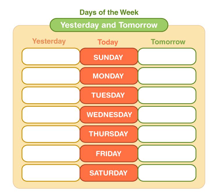 days of the week printables 2