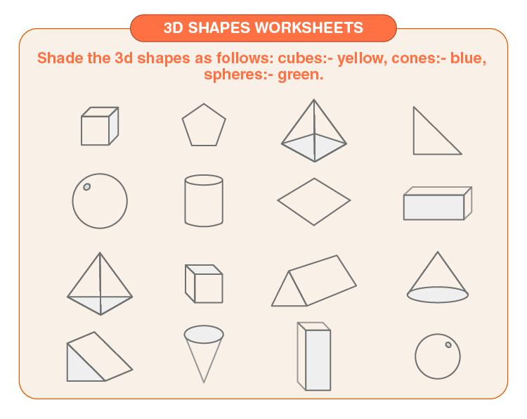 Shade 3 shapes on the worksheet:  3d shapes worksheets for kids