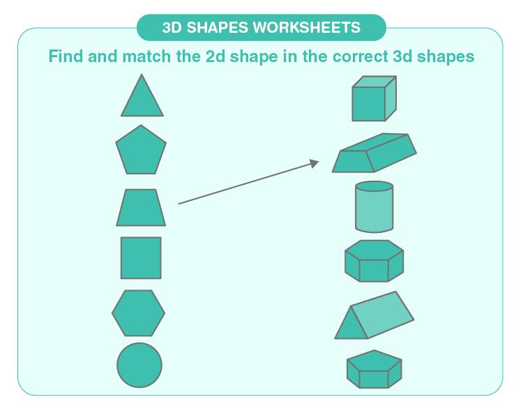 Match the shape worksheets for kids: 3d shapes matching worksheets