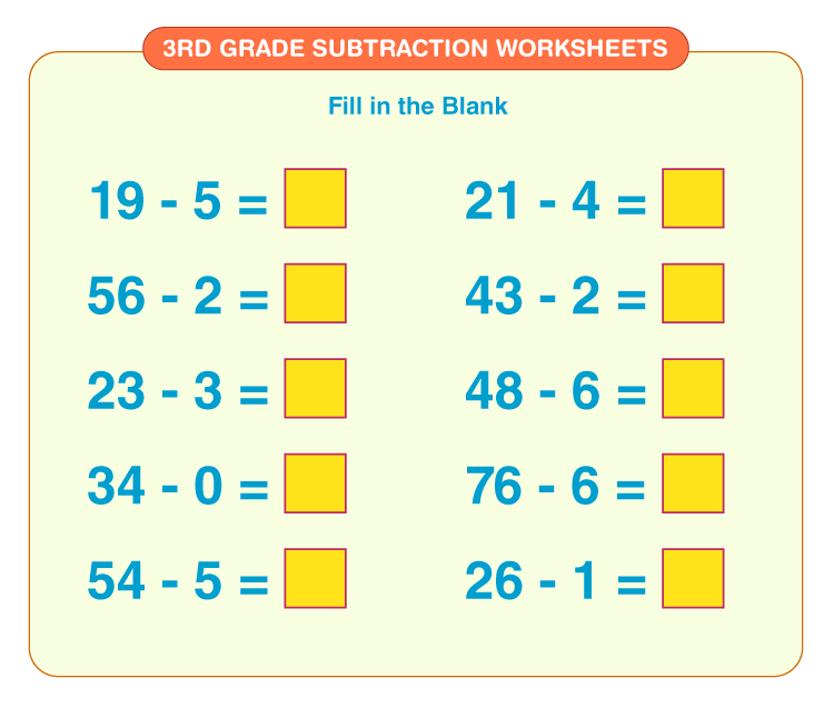 Fill in the blank numbers: Printable 3rd grade math worksheets for subtraction