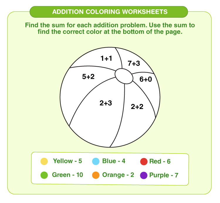 Add numbers to color the ball:  Free printable addition coloring worksheets
