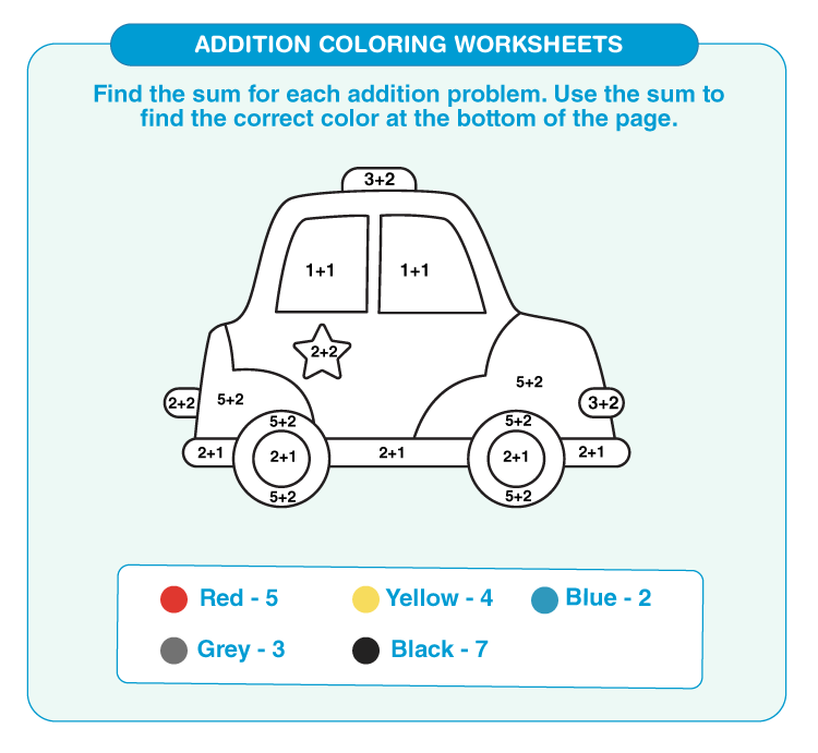 Add the numbers to color the car: Math addition coloring worksheets for kids