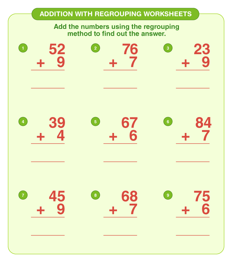 Addition with regrouping worksheets 1
