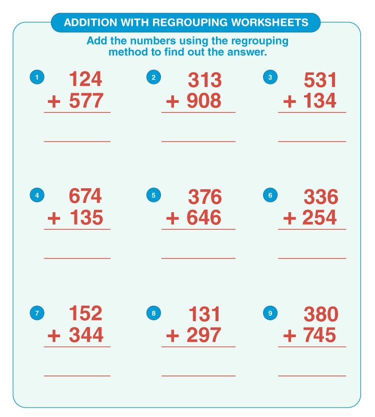 Addition with regrouping worksheets 2