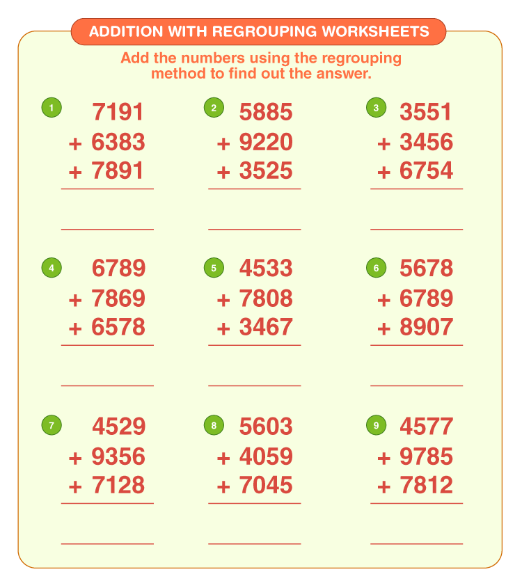 Addition with regrouping worksheets 3