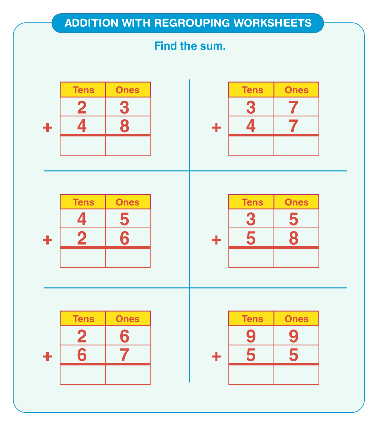Addition with regrouping worksheets 5