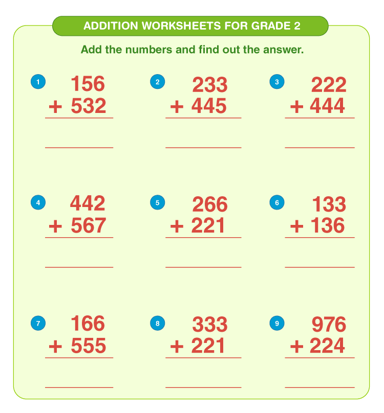 Addition worksheets for grade 2 4