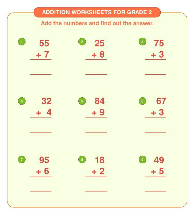 Addition worksheets for grade 2 5