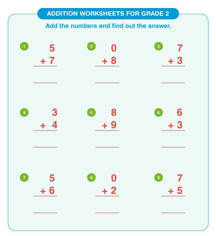 Addition worksheets for grade 2 6