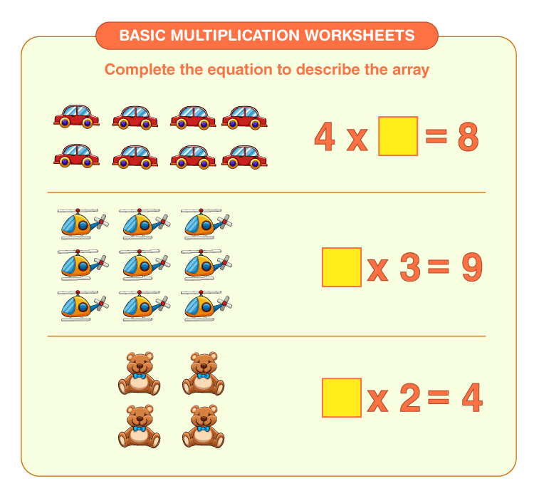 Fill the missing numbers: Basic multiplication worksheets for kids
