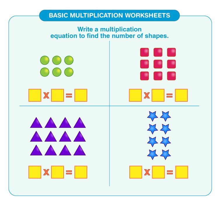 Solve the multiplication equations: Printable basic multiplication worksheets