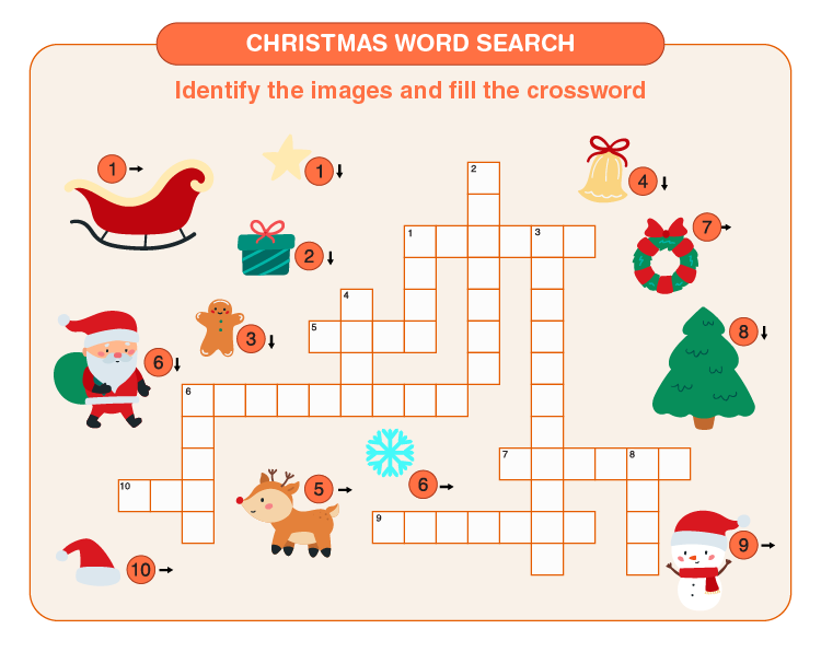 Identify the images and fill the crossword: Christmas crossword puzzles for kids