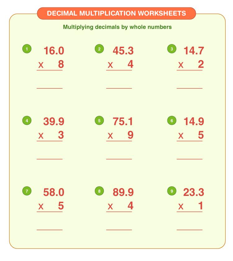 Decimal multiplication worksheets 2