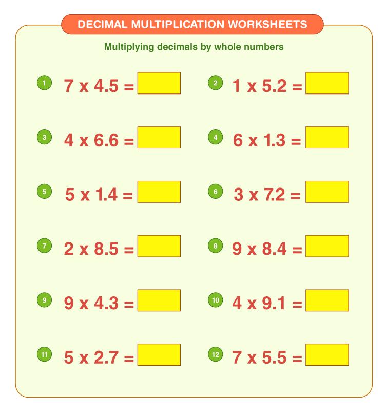 Decimal multiplication worksheets 4