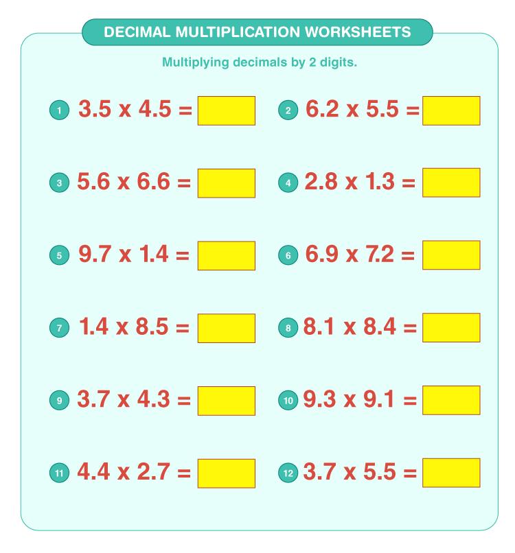 Decimal multiplication worksheets 5