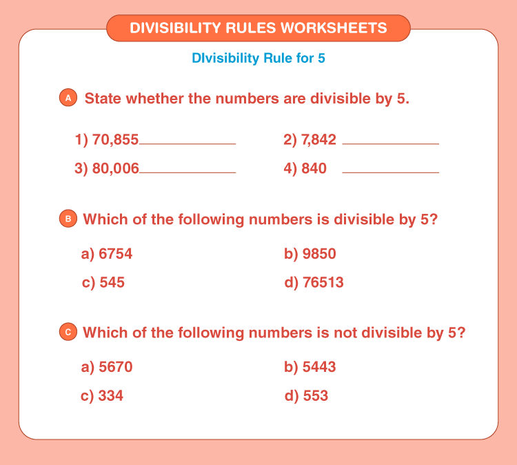 Divisibility rules worksheets 3
