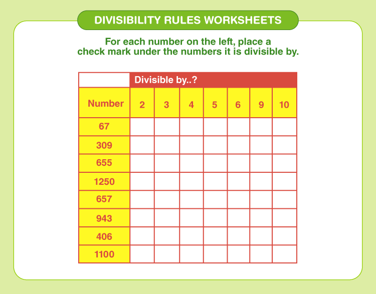 Divisibility rules worksheets 5