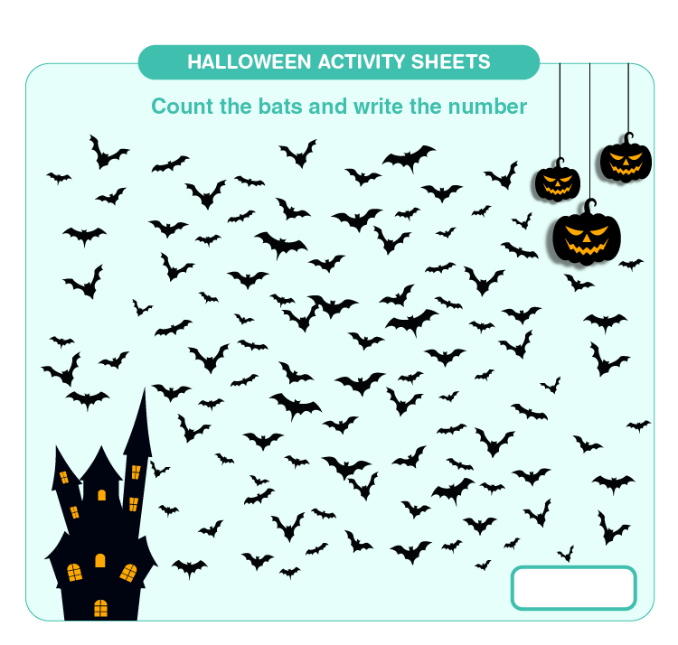 Counting the Number of Bats: Printable Halloween Activity Sheets for Kids