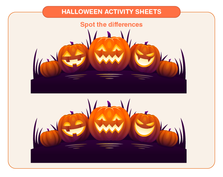 Spot the Difference in Halloween Sheet: Halloween Activity Sheets For Kids