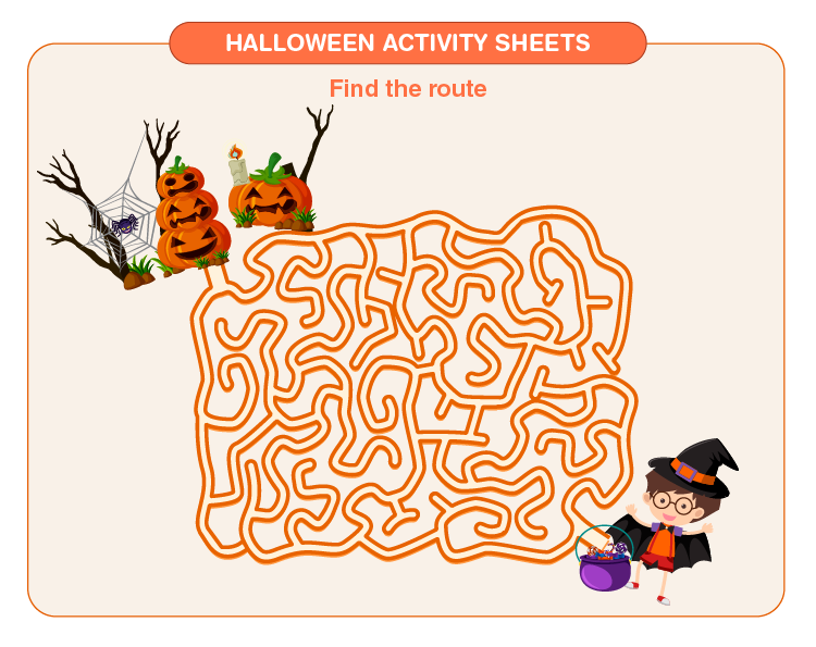 Find the route on Halloween sheet:  Free Halloween printable activity sheets