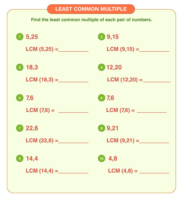 Least common multiple worksheet 4