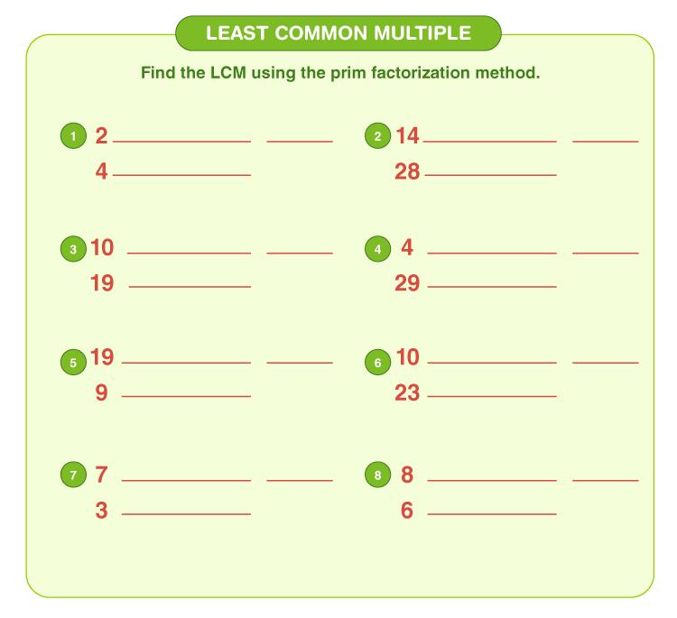 Least common multiple worksheet 5