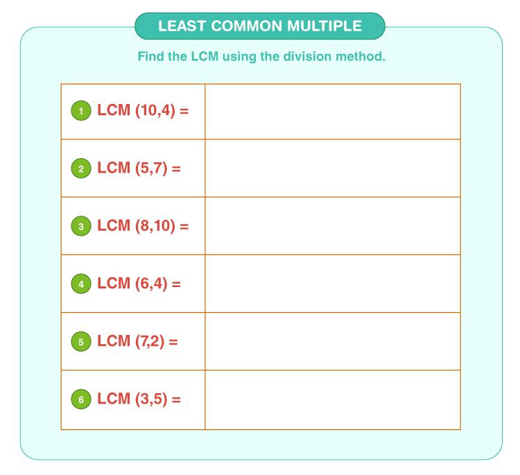 Least common multiple worksheet 6