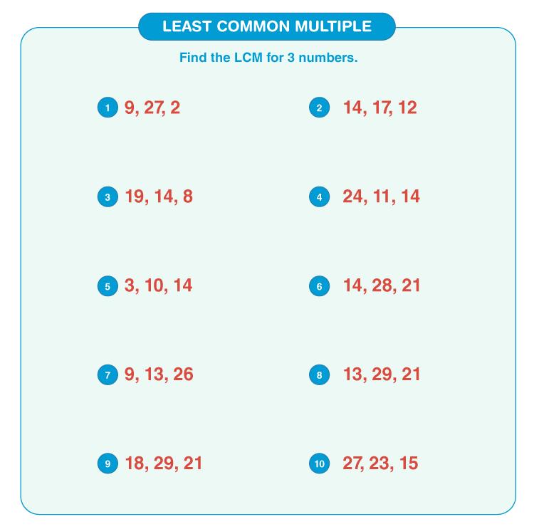 Least common multiple worksheet 7