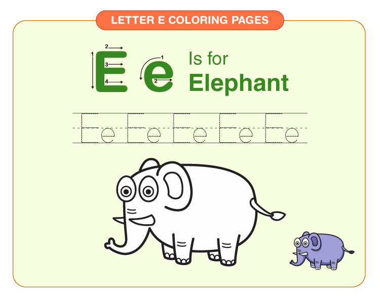 Letter E Coloring Pages 2