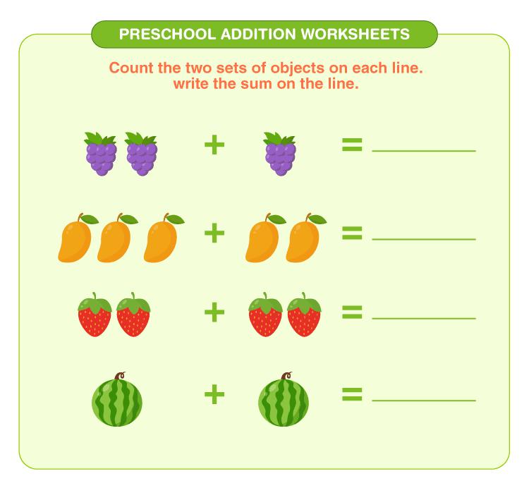 Preschool Addition Worksheets 3