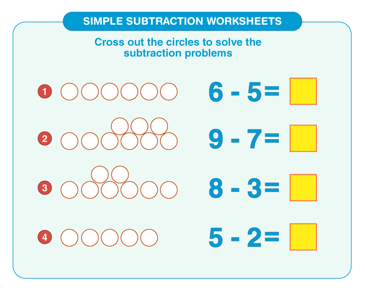 Simple Subtraction Worksheets 2