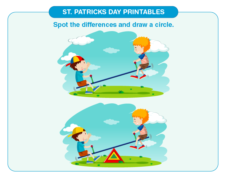 Spot the difference in the image: St. Patricks day printables for kids