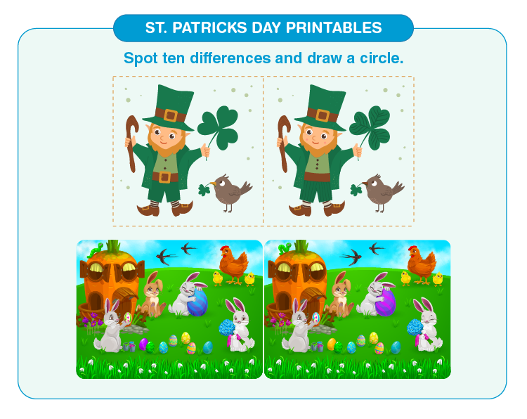 Spot the 10 ten differences in the image: Free St. Patrick's Printables For Kids