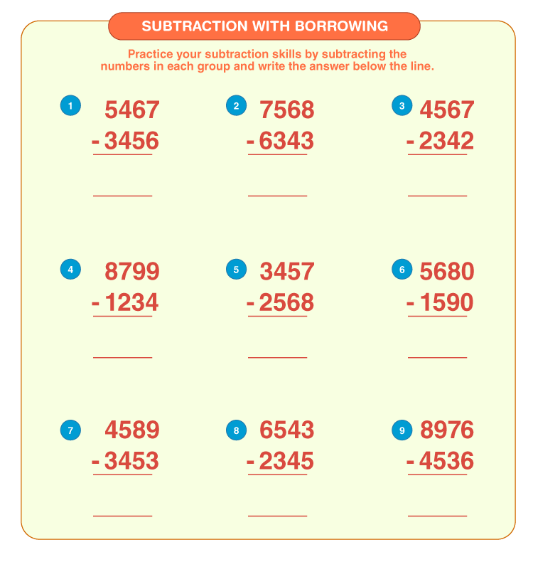 Subtract the 4 digit numbers:  4 digit subtraction with borrowing worksheets for kids