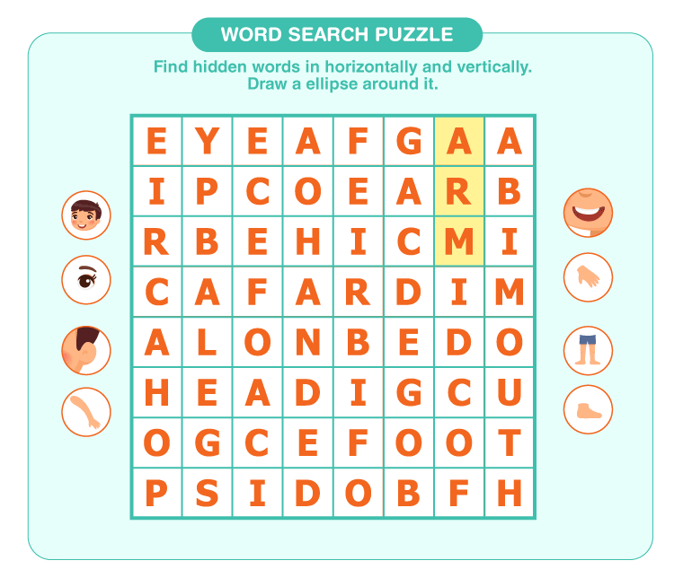 Search the hidden words on the sheet: Word search puzzles for kids