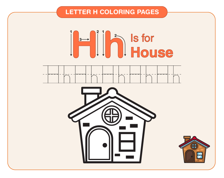 Color the house: Printable letter H coloring pages for kids