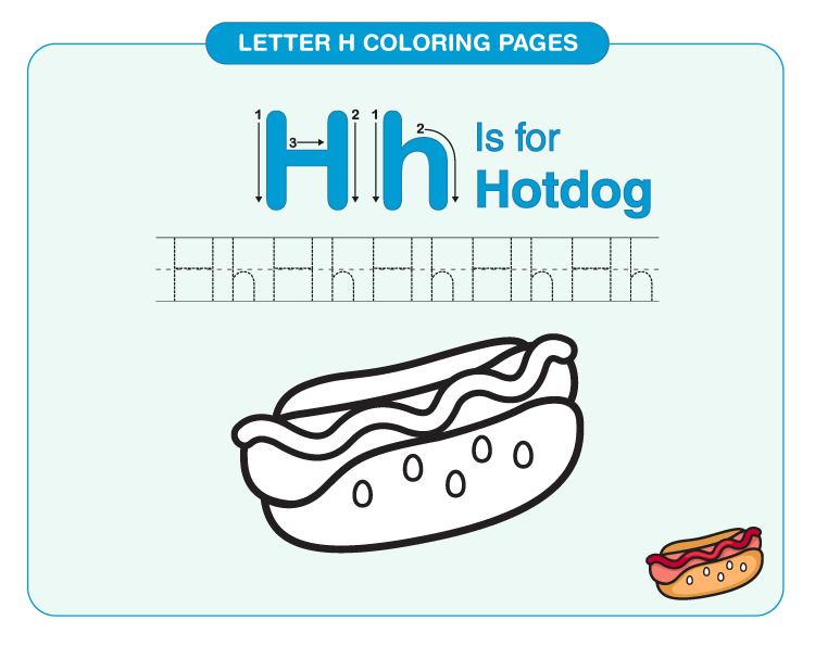 Color the Hotdog: Letter H printable coloring pages for kids