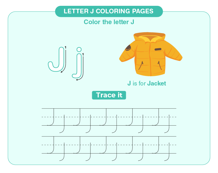 Color the jacket: Free printable letter J coloring pages for kids