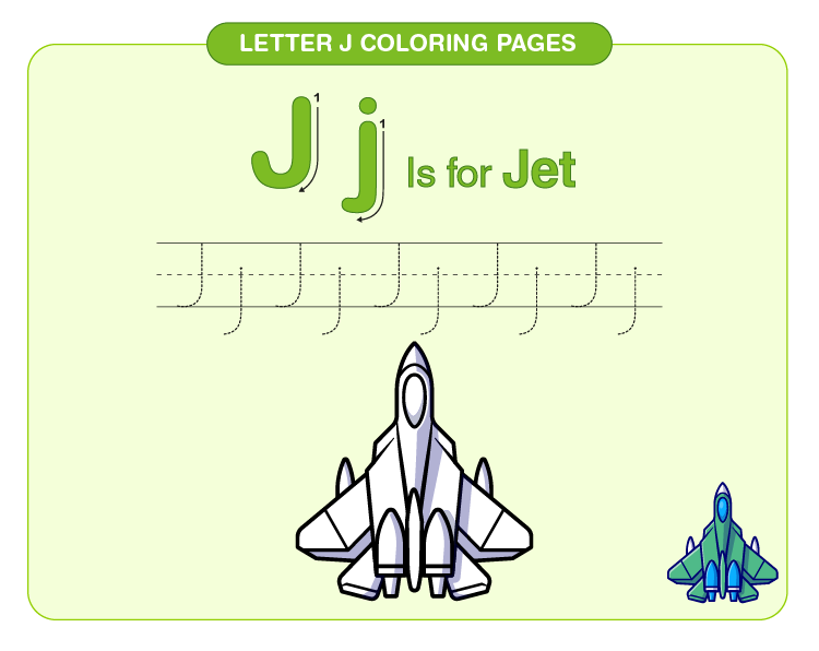 Color the jet: Letter J coloring pages for kids