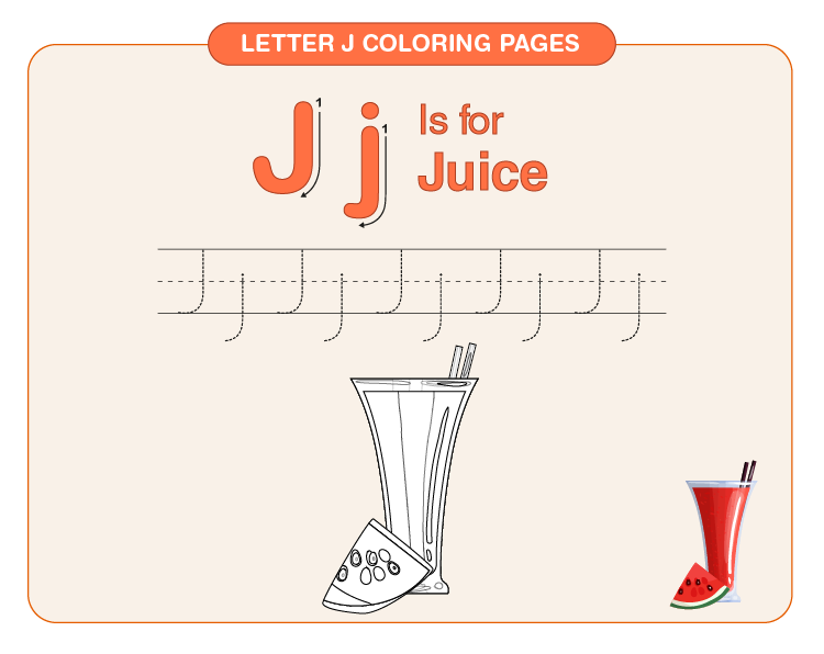 Color the juice: Coloring pages with the letter J for kids