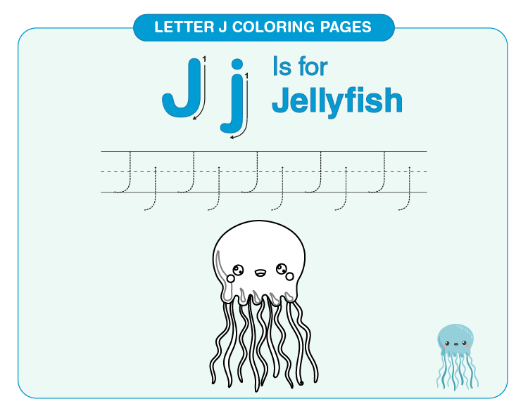 Color the jellyfish: Printable letter J coloring pages for kids