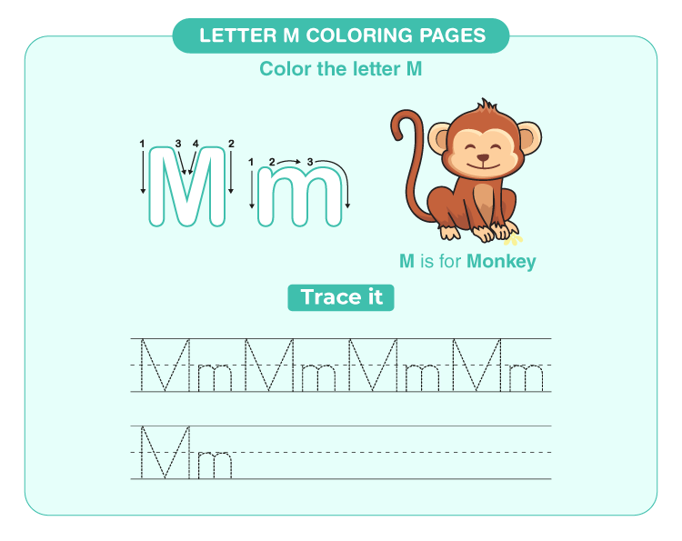 letter M coloring page 1