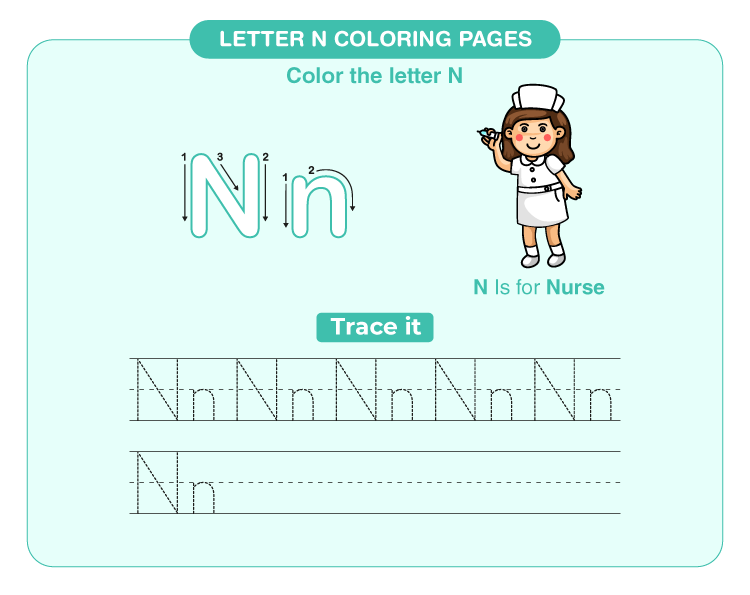letter n coloring page 1